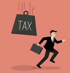 Businessman run away from heavy tax vector image