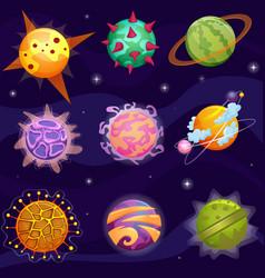cute cartoon fantasy fantastic planets set vector image