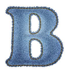 Jeans alphabet Denim letter B vector image vector image