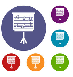 whiteboard with music notes icons set vector image