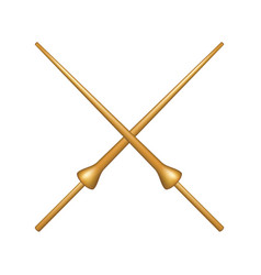 crossed lances in wooden design vector image vector image