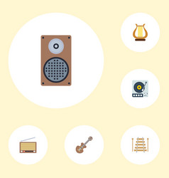Flat icons radio audio box lyre and other vector