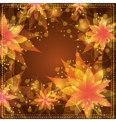 Floral background with decorative golden ornament vector image