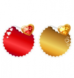set of stickers with hearts vector image vector image