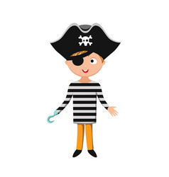 kid pirate costume festival superhero character vector image