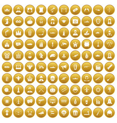 100 film icons set gold vector
