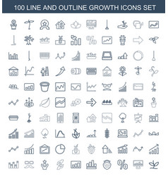 100 growth icons vector