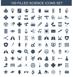 100 science icons vector
