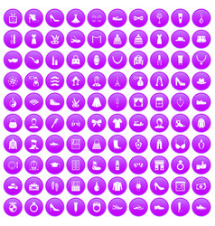 100 vogue icons set purple vector