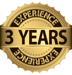 3 years experience golden label with ribbon vector