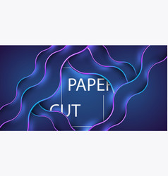 3d abstract background with blue paper cut shapes vector image