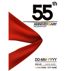 55 anniversary design with big red ribbon vector