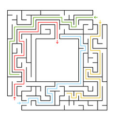 a square labyrinth choose the right path to get vector image