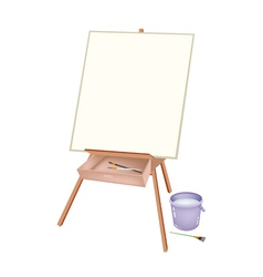 A Wooden Artist Easel with Brushes and Bucket vector