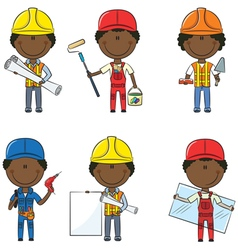 African-American construction workers vector image