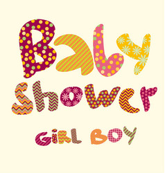 Baby shower lettering party vector