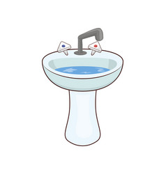 basin with taps and water vector image