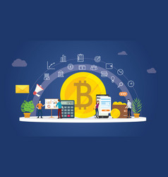 bitcoin cryptocurrency digital money business vector image