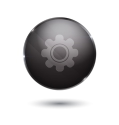 black glossy Setting icon button vector image
