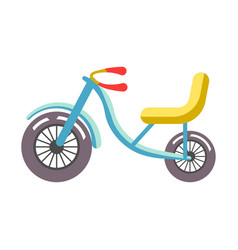 Blue children bicycle with yellow seat isolated on vector