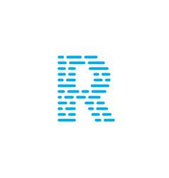 blue stripes logo letter r vector image