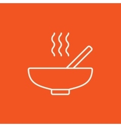 Bowl of hot soup with spoon line icon vector image