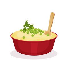 Bowl of mashed potato traditional christmas food vector