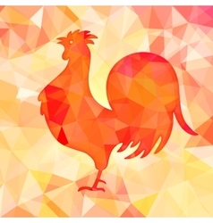 bright red polygon a rooster vector image
