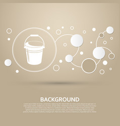 Bucket icon on a brown background with elegant vector