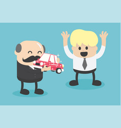 Business boss give a car to successful businessmen vector