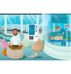 Business man relax in massage room relax zone vector
