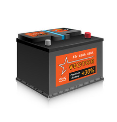Car battery on white background vector