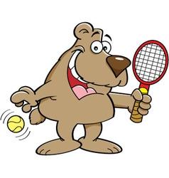 Cartoon Bear Holding a Tenis Racket vector