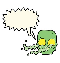 Cartoon gross skull with speech bubble vector