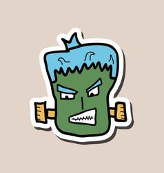 Cartoon zombie head with gradients vector