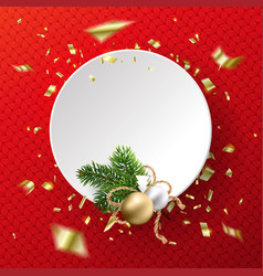 christmas fancy white empty circle on red vector image