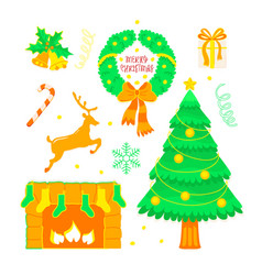 christmas set in doodle style with tradition vector image