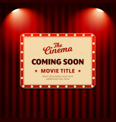Cinema movie coming soon poster promotion design vector
