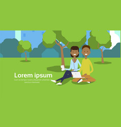 city park african couple sitting green lawn using vector image