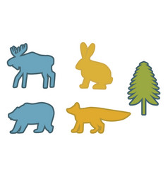 Coloring siluettes forest animals vector