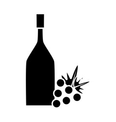 Contour wine bottle with grape fruit vector