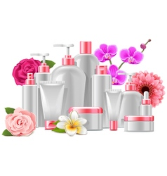 Cosmetic Packaging with Flowers vector
