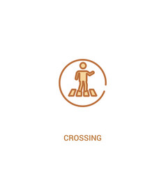 Crossing concept 2 colored icon simple line vector