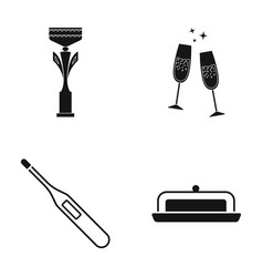 cup champagne and other web icon in black style vector image