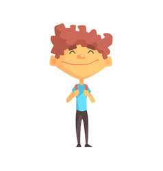curly boy in blue t-shirt smiling primary school vector image