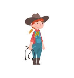 Cute boy dressed as cowboy kids future profession vector