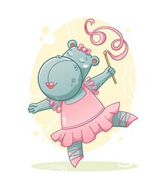 Cute dancing hippo vector