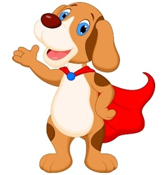 Cute super dog cartoon presenting vector