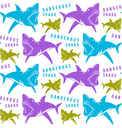 dangerous sharks seamless pattern vector image