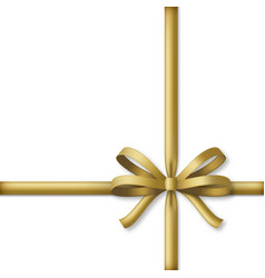 decorative golden bow with gold colored ribbons vector image
